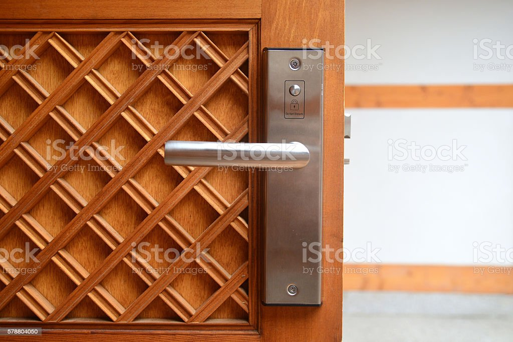 Electronic lock on door in luxury resort stock photo