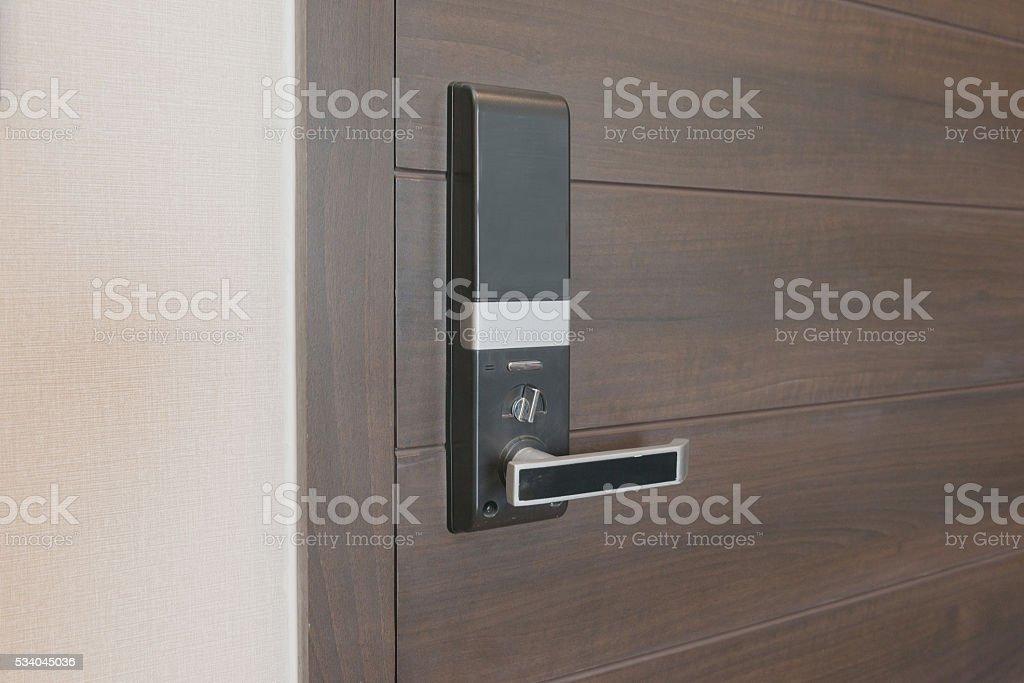Electronic lock on door stock photo