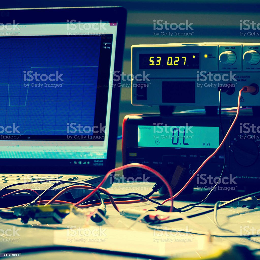 electronic measuring instruments in hitech computer laboratory stock photo