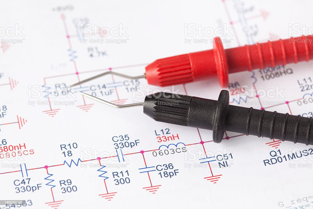 Electronic measuring wire leads and scheme. stock photo