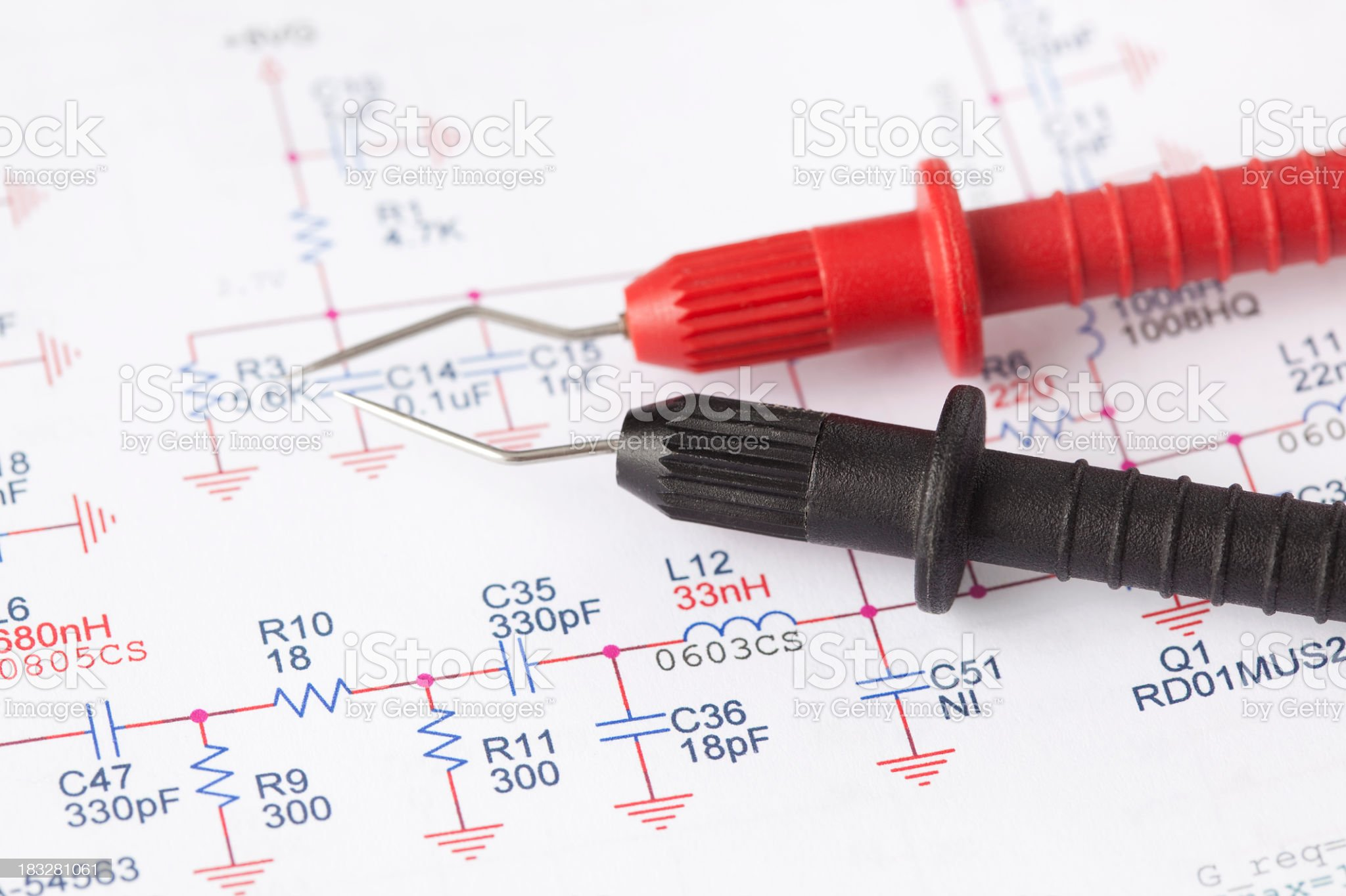 Electronic measuring wire leads and scheme. royalty-free stock photo