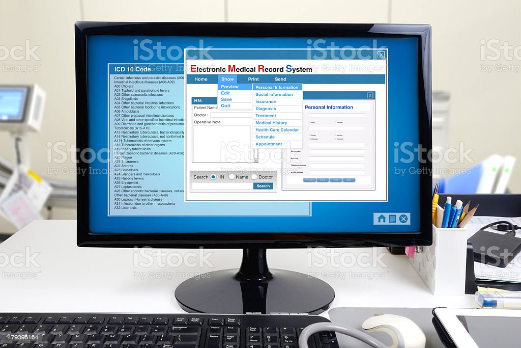 Electronic medical record in hospital. stock photo