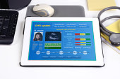 Electronic medical record on tablet.
