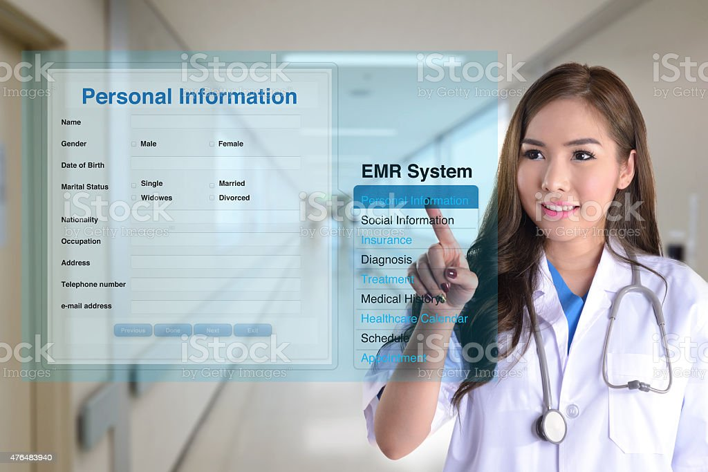Electronic medical record. stock photo