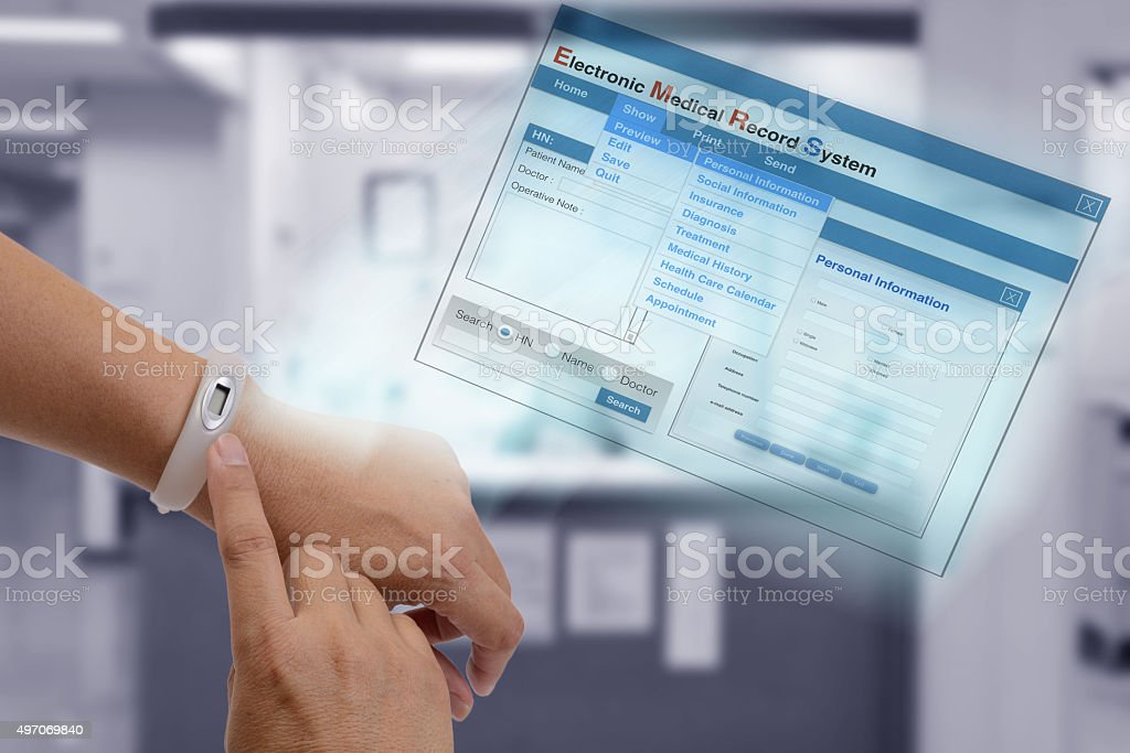Electronic medical record technology. stock photo