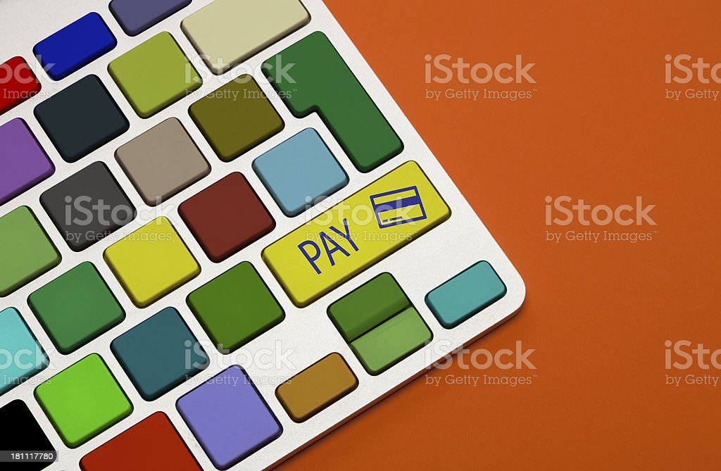 Electronic payment concept on keyboard button royalty-free stock photo
