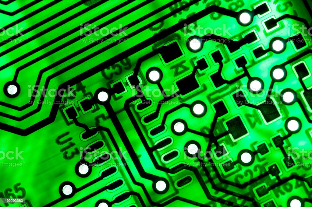 Electronic pcb board in transparency stock photo