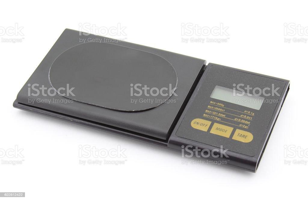 Electronic precision digital scale stock photo