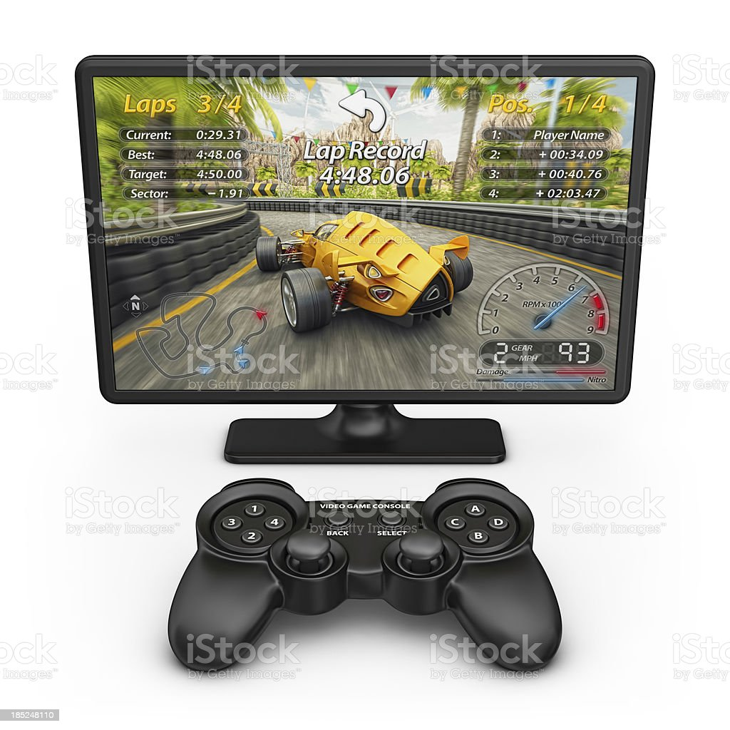 Electronic racing game and controller stock photo