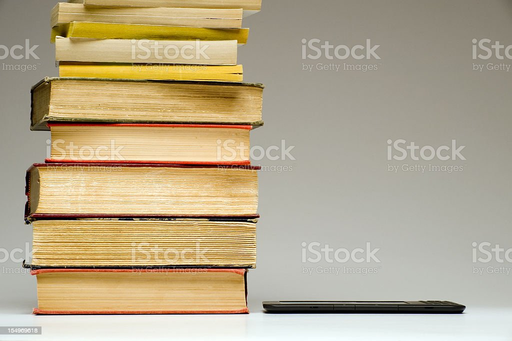 Electronic Reader and Books royalty-free stock photo