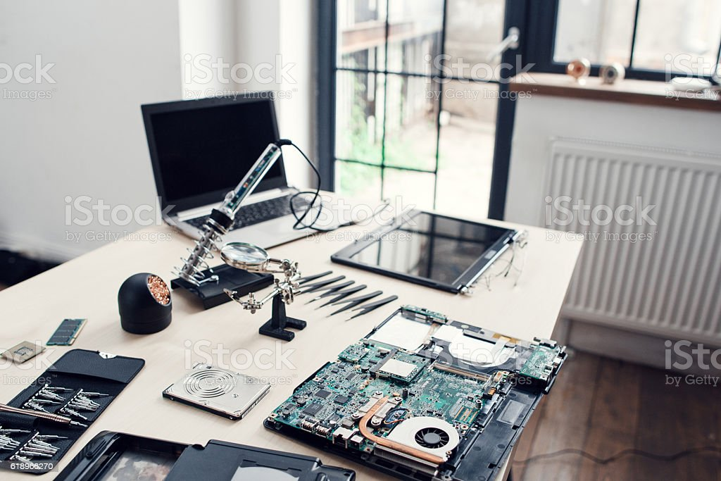Electronic repair shop, engineer workplace stock photo