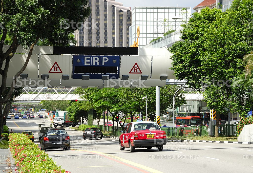 Electronic Road Pricing, Singapore stock photo