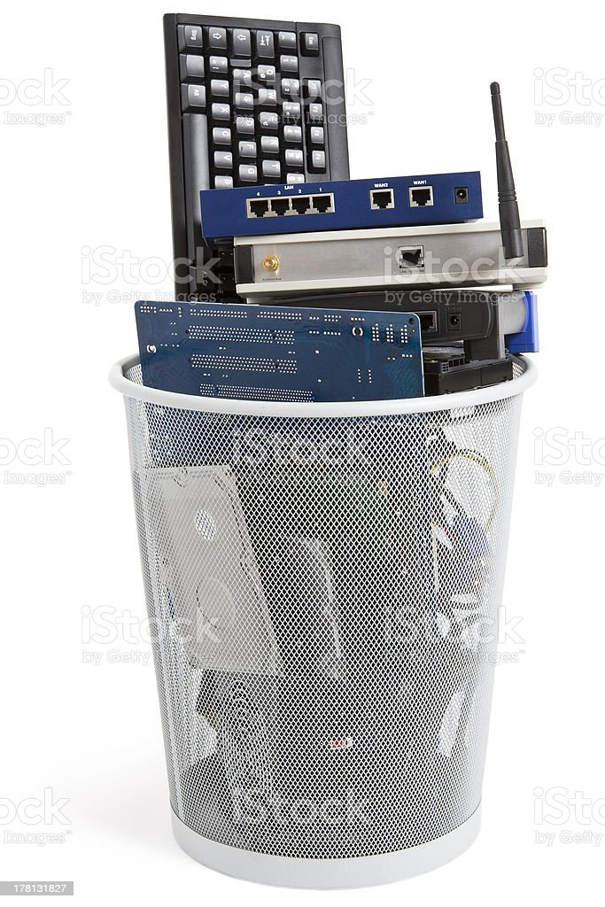 electronic scrap in trash can stock photo