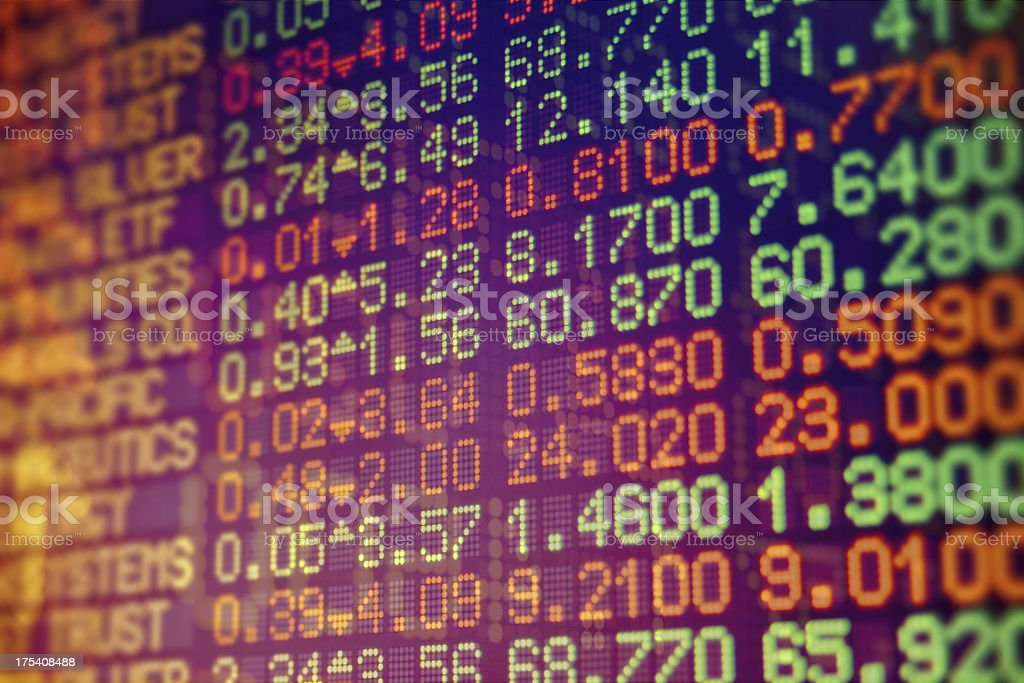 Electronic screen of stock data numbers stock photo