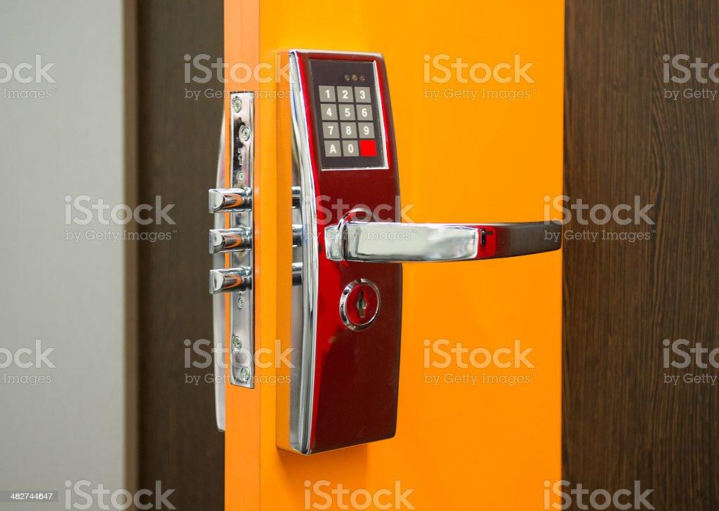 Electronic Security door lock stock photo