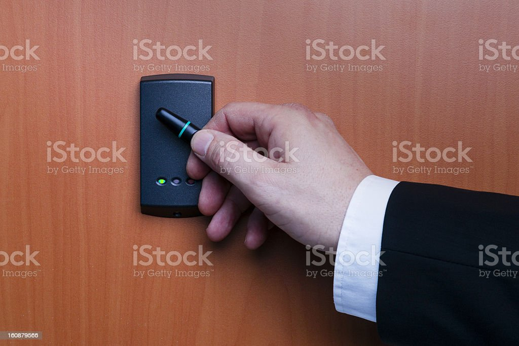 electronic security system being activated royalty-free stock photo
