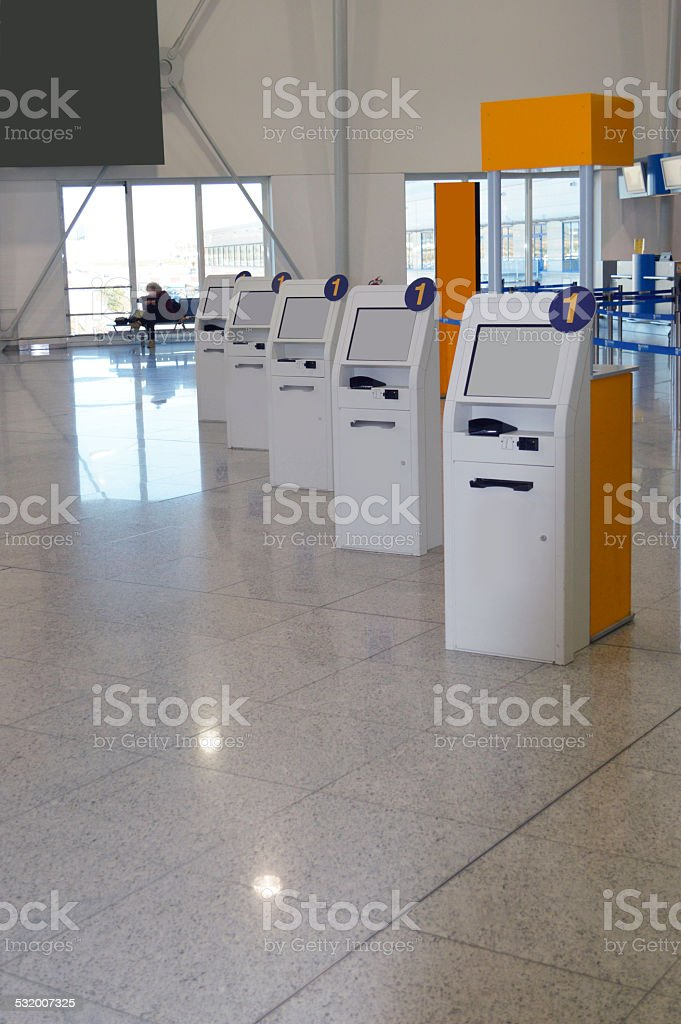 Electronic self check-in ticket machines stock photo