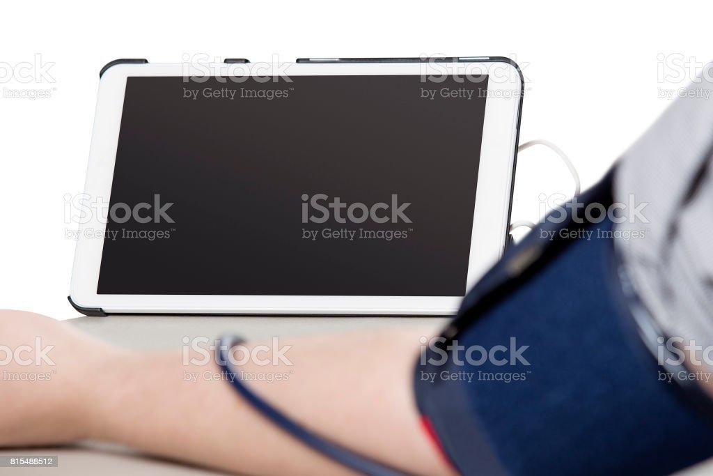 Electronic Smart Sphygmomanometer or Blood Pressure Monitor stock photo