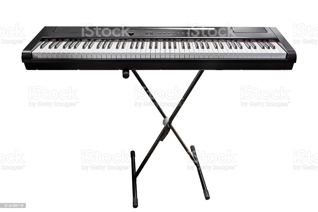 electronic synthesizer isolated on white background stock photo