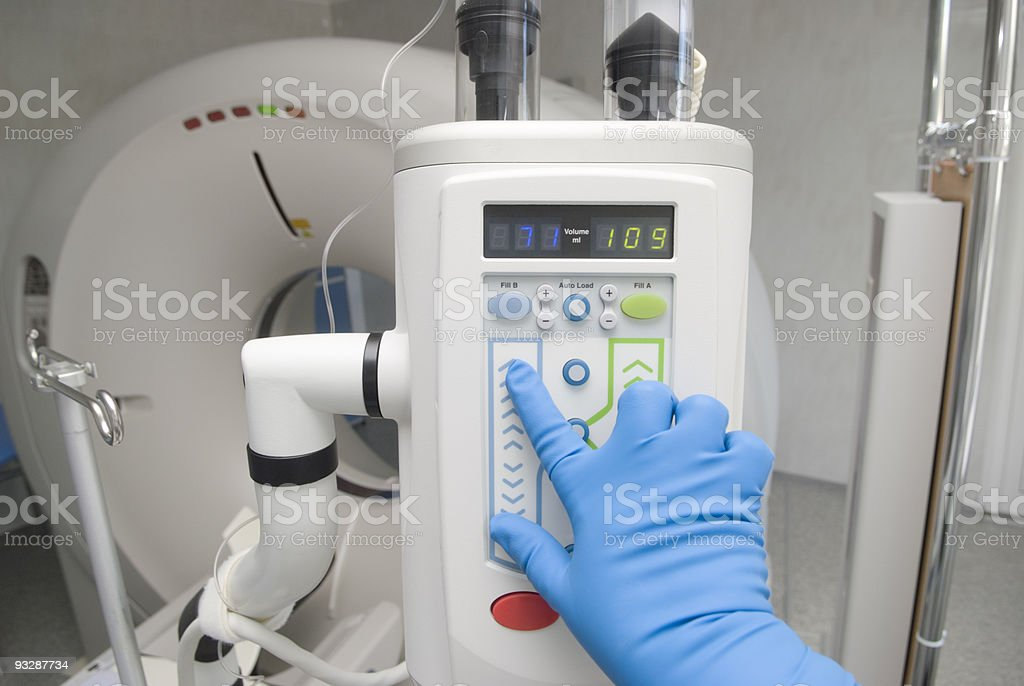 Electronic syringe with automatic loading stock photo