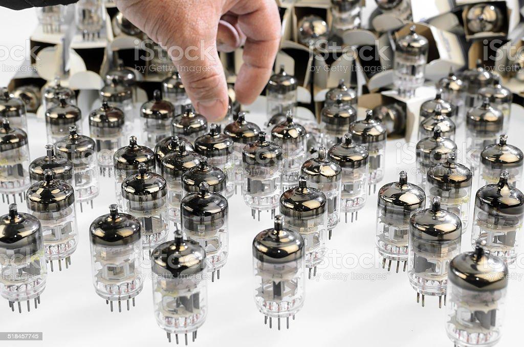 Electronic vacuum tube stock photo