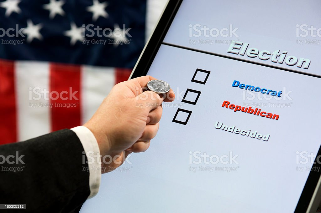 Electronic Voting - Coin Toss stock photo