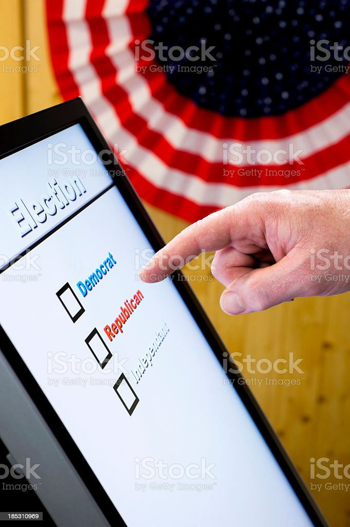 Electronic Voting - Hand stock photo