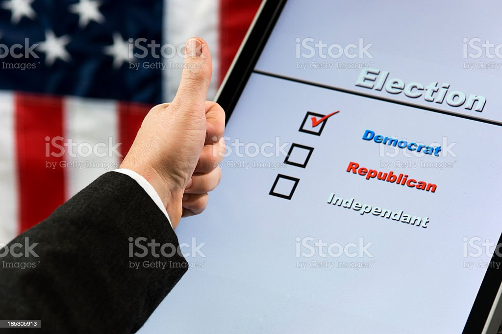 Electronic Voting - Thumbs Up Dem stock photo