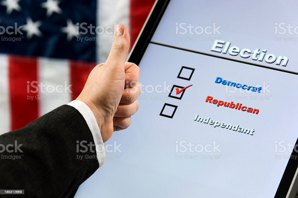 Electronic Voting - Thumbs Up GOP stock photo