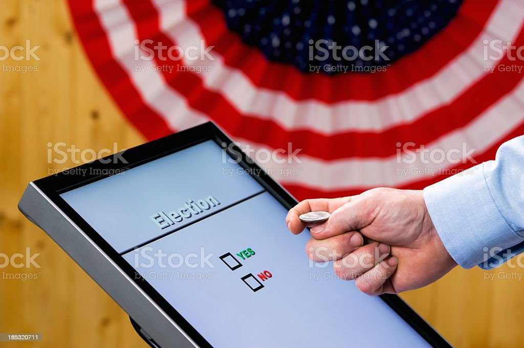 Electronic Voting - Yes No, Coin Toss stock photo