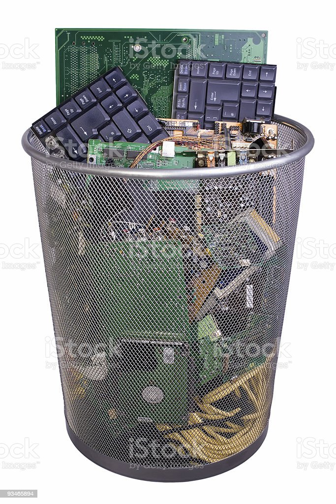 electronic waste for disposal or recycling - computer trash bin stock photo