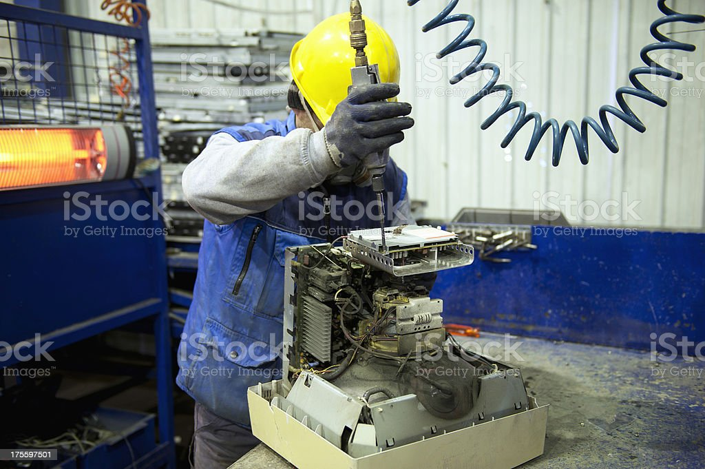 Electronic waste recycling stock photo