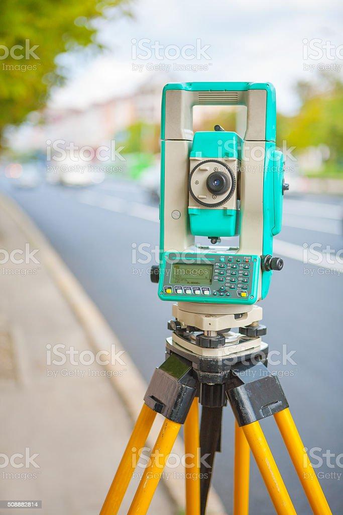 electronical theodolite stock photo