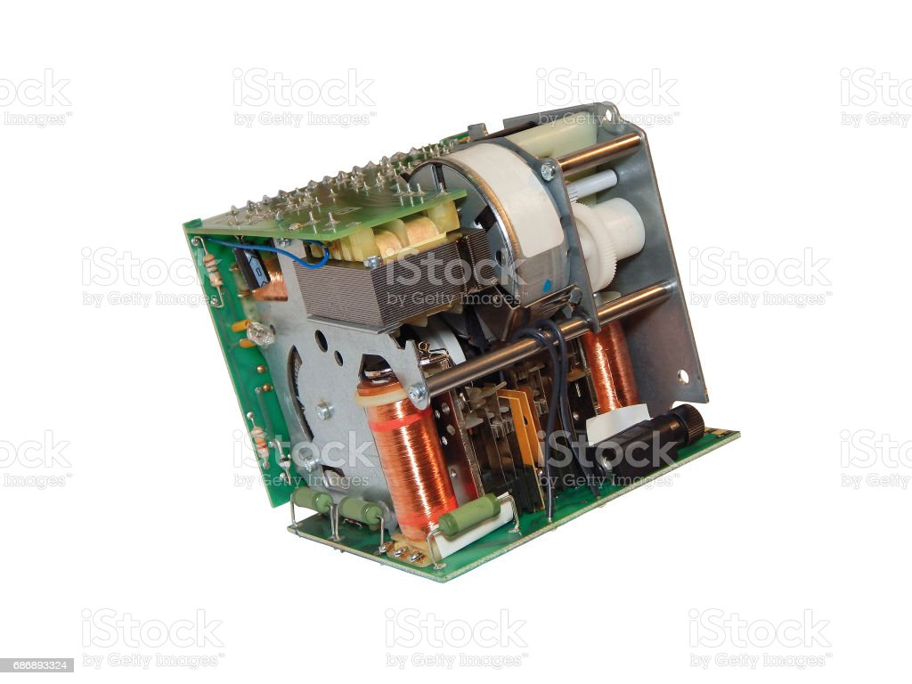Electronic-mechanical device. stock photo