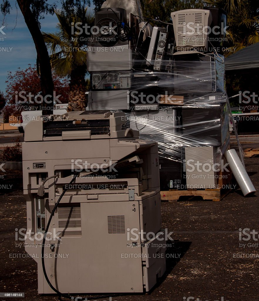 Electronics Collected for Recycling stock photo