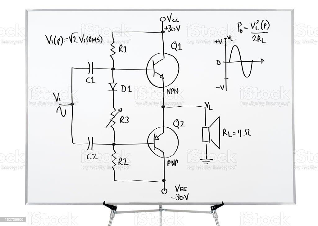 Electronics drawing on whiteboard royalty-free stock photo