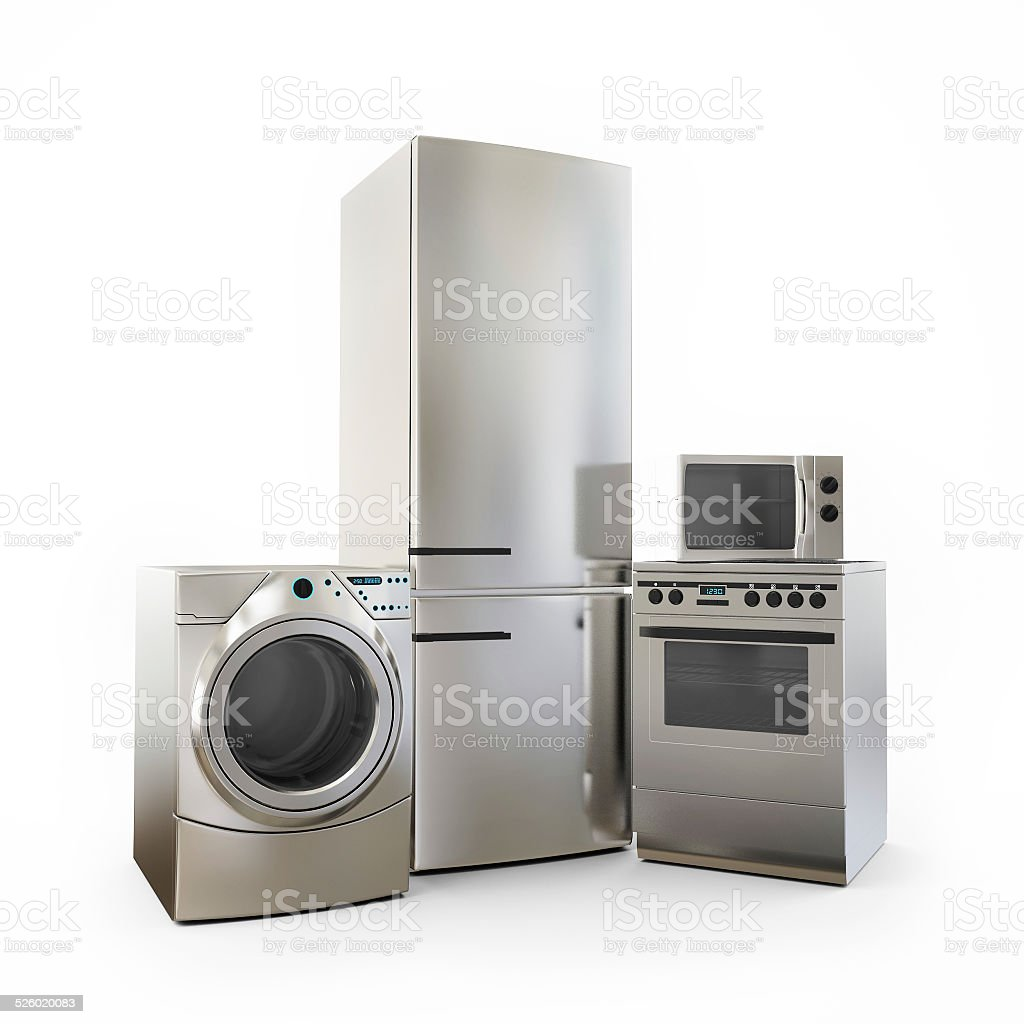 Electronics Fridge Microwave washer and electric-cooker Home Appliances stock photo