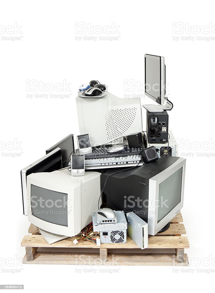 Electronics Recycling Pallet stock photo