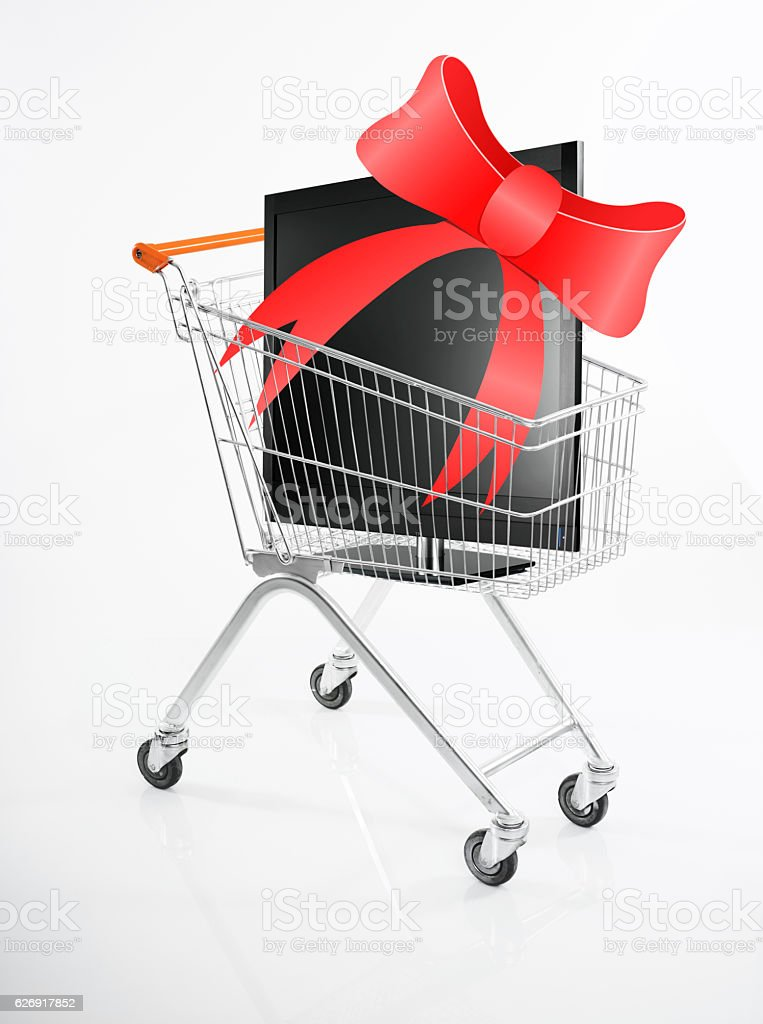 electronics shopping for gift stock photo