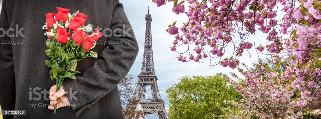 elegance man for st. valentine in paris stock photo