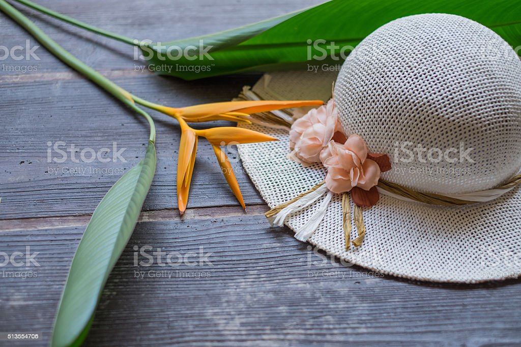 elegance womens hat with exotic flowers stock photo