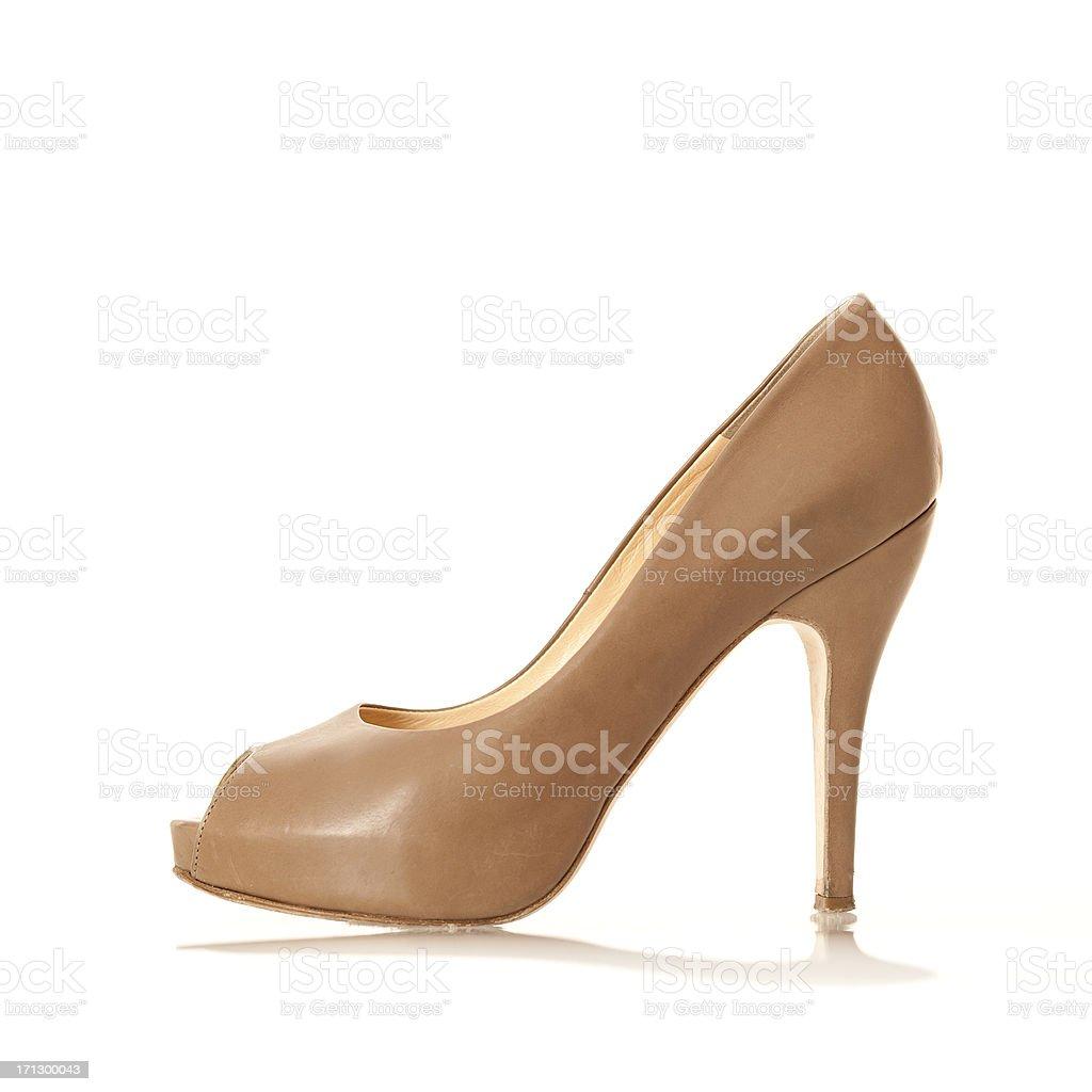 Elegangt High Heels with peep toe, nude colored stock photo