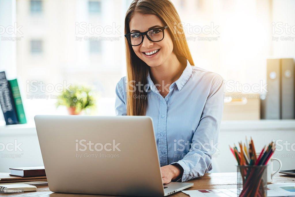 Elegant and cheerful businesswoman. stock photo