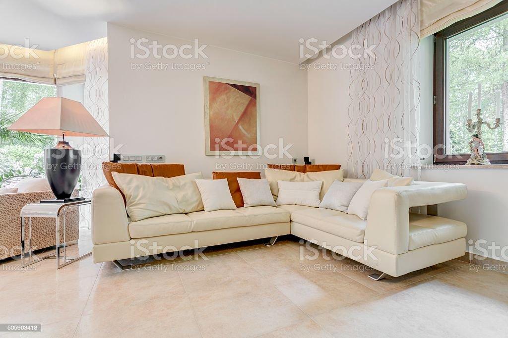 Elegant angled leather sofa stock photo