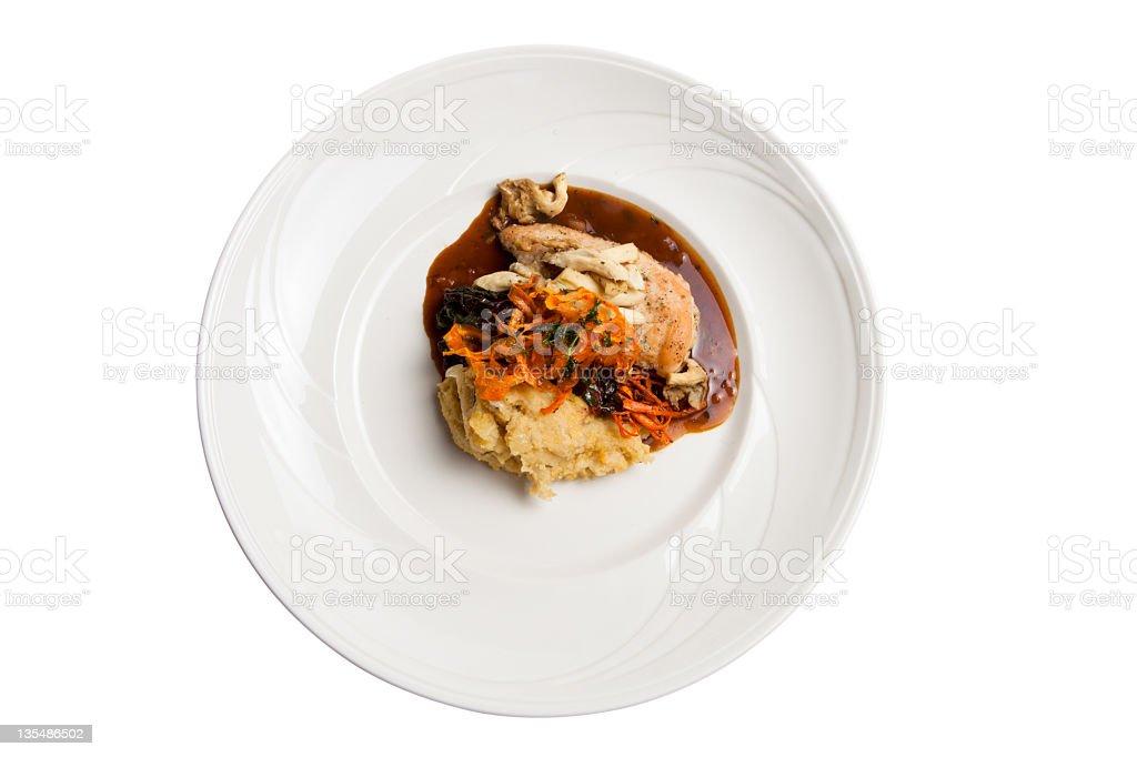Elegant baked chicken dinner stock photo