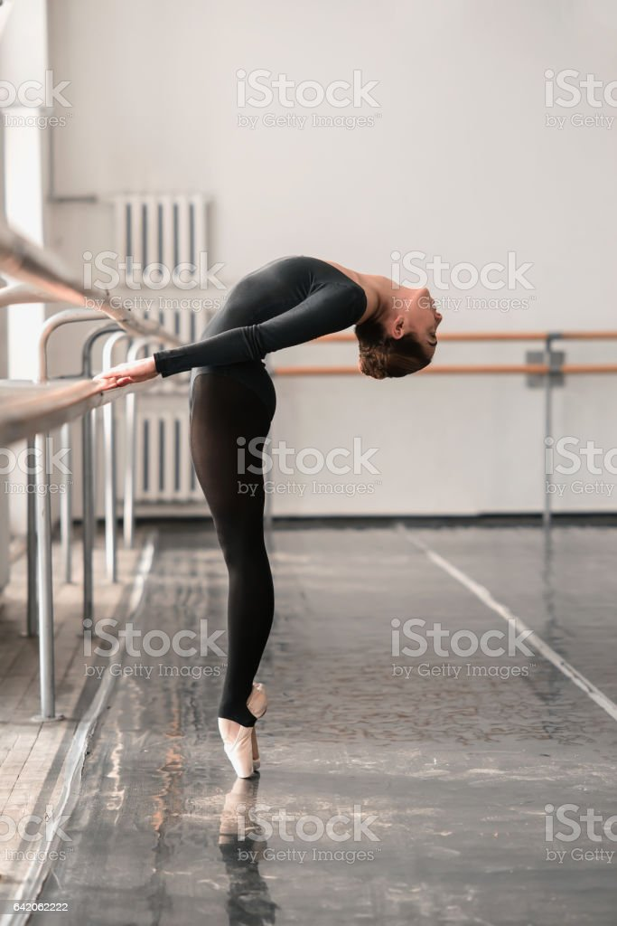 Elegant ballet dancer rehearsal in class stock photo