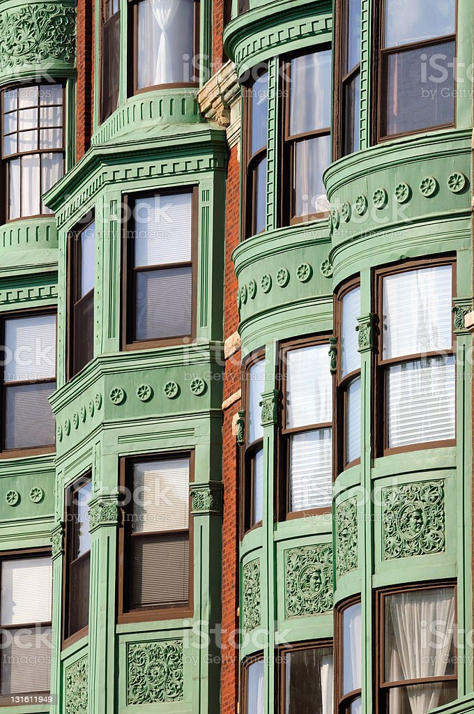 Elegant bay window background stock photo