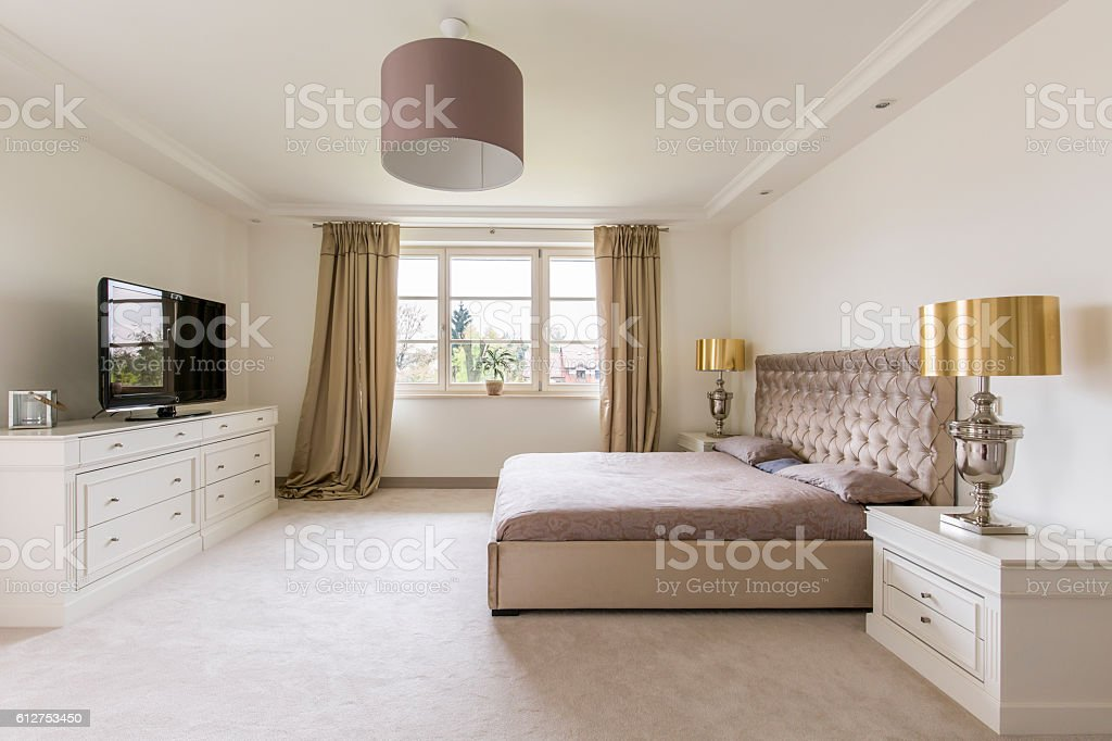 Elegant bedroom design stock photo