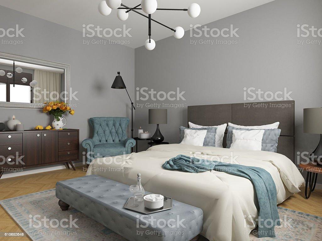elegant bedroom interior stock photo