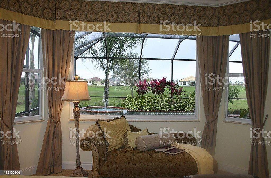 Elegant Bedroom with a View stock photo